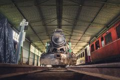 Old Steam Locomotive Front View. Front View of an Old Steam Locomotive Standing in the Depo Stock Image