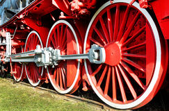 Old steam locomotive iron wheels Royalty Free Stock Image
