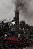 Old steam locomotive. Low key photo. Vintage style Royalty Free Stock Photography