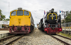 Old steam locomotive Pacific. NAKHON PATHOM, THAILAND - AUGUST 12 : Diesel Electric locomotives and Old steam locomotive pacific park correlate On Mother's Day Stock Images
