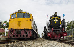 Old steam locomotive Pacific. NAKHON PATHOM, THAILAND - AUGUST 12 : Diesel Electric locomotives and Old steam locomotive pacific park correlate On Mother's Day Royalty Free Stock Image