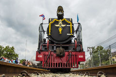 Old steam locomotive Pacific. NAKHON PATHOM, THAILAND - AUGUST 12 : Old steam locomotive Pacific of State Railway Thailand No. 850 and 824. On Mother's Day at Stock Photo