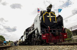 Old steam locomotive Pacific. NAKHON PATHOM, THAILAND - AUGUST 12 : Old steam locomotive Pacific of State Railway Thailand No. 850 and 824. On Mother's Day at Stock Photos