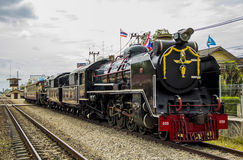 Old steam locomotive Pacific. NAKHON PATHOM, THAILAND - AUGUST 12 : Old steam locomotive Pacific of State Railway Thailand No. 850 and 824. On Mother's Day at Royalty Free Stock Photos