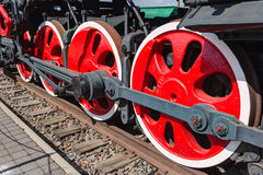 Old steam locomotive painted wheels Stock Photography