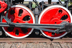 Old steam locomotive painted wheels Royalty Free Stock Images