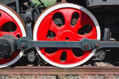 Old steam locomotive painted wheels Royalty Free Stock Photography