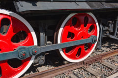 Old steam locomotive painted wheels Stock Photo