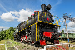 Old steam locomotive on the pedestal in the Yelets  locomotive D Stock Image