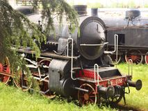 Old locomotive in the station royalty free stock photography