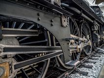 Old steam locomotive. PRAGUE, CZECH REPUBLIC - MARCH 8 2017: Steam locomotive in the National Technical Museum of Prague, housing historical transportation Royalty Free Stock Image