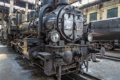Old steam locomotive in railway museum Stock Photo