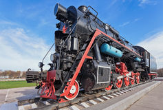 Old steam locomotive with the red star Stock Images