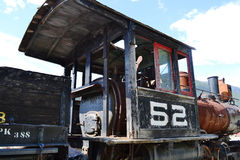 Old steam locomotive. Old steam rusty locomotive under the sunny sky Royalty Free Stock Photo