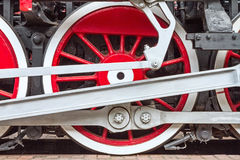 Old steam locomotive steel wheels Royalty Free Stock Image