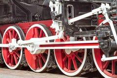 Old steam locomotive steel wheels Royalty Free Stock Photo