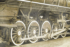 Old steam locomotive steel wheels Royalty Free Stock Photography