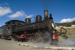 Old Steam Locomotive Touristic Train. Old Steam Locomotive Trochita in Patagonia royalty free stock images