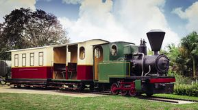 An old steam locomotive with a waggon Stock Photo