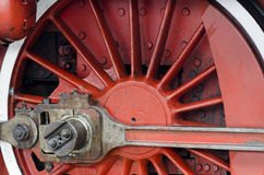 Old steam locomotive wheel Stock Images