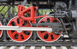 Old steam locomotive wheels Royalty Free Stock Images