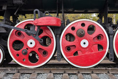 Old steam locomotive wheels Stock Images