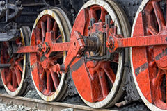 Old steam locomotive wheels Royalty Free Stock Image