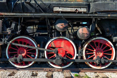 Old steam locomotive wheels Stock Image