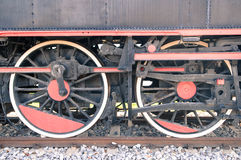 Old steam locomotive wheels. Close up of old steam locomotive wheels Royalty Free Stock Image