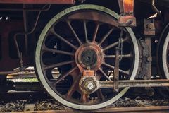 Old steam locomotive wheels Stock Photography
