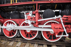 Old steam locomotive wheels Royalty Free Stock Photography