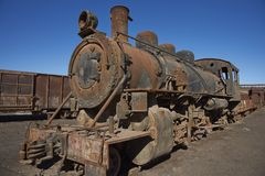 Baquedano Engine Shed, Chile. Old steam locomotives at the historic engine shed at Baquedano Railway Station in the Atacama Desert, Chile royalty free stock photography