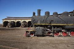 Baquedano Engine Shed, Chile. Old steam locomotives at the historic engine shed at Baquedano Railway Station in the Atacama Desert, Chile stock photos