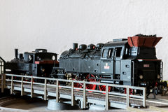 Old steam model locomotive on turntable Royalty Free Stock Image