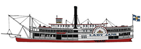 Old steam paddle riverboat. Hand drawing of a classic steam paddle riverboat Royalty Free Stock Photography