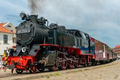 Old steam railroad engine Molli in Bad Doberan stock photo