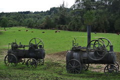 Old steam tractors near the Llanquihue lake road Royalty Free Stock Photography