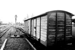 Old steam train. Part of old steam train in black and white stock photo