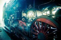 Old steam train. Blue light Stock Photography