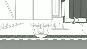 Old steam train close-up sketch animation. Close-up of old steam engine locomotive train with freight carriages moving on the rails. Monochrome blueprint outline stock footage
