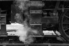 Old steam train detail. Old steam train in black and white stock photo