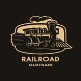 Old steam train emblem, logo. Vector illustration Stock Photo
