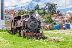 Old steam train engine near Estacion Presidente Arce, old railway station in Sucre, Boliv. Ia royalty free stock photo