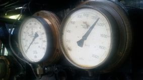 Old steam train gauges. Old steam train pressure gauges Royalty Free Stock Photography