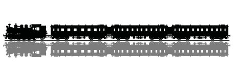 Old steam train. Hand drawing of a black silhouette of a classic steam train with a gray shadow vector illustration