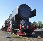 Old steam train locomotive. Old retro steam train locomotive Royalty Free Stock Photos