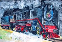 Old steam train. Painting wet watercolor on paper. Naive art. Drawing watercolor on paper. Old steam train. Painting wet watercolor on paper. Naive art vector illustration