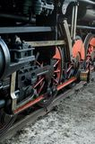 Old steam train. On railway track Stock Image