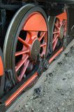 Old steam train. On railway track Royalty Free Stock Photos