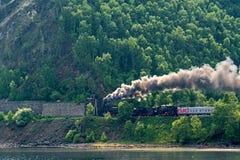 Old steam train rides on the Circum-Baikal Railway Royalty Free Stock Photos